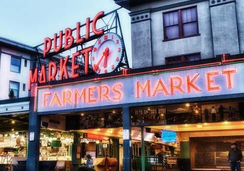 Seattle, WA Pikes Place Market Neon Lights Rain
